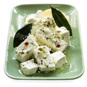 Marinated Feta Cheese with Bay Leaves — Stock Photo