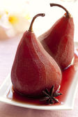 Pears Poached in Red Wine — Stock Photo