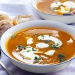 Bowls of Pumpkin Soup with Bread — Stock Photo