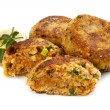 Salmon Fishcakes over White Background - Photo