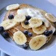 Blueberry and Banana Pancakes - Stock Photo