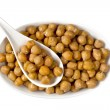 Chick-Peas over White - Stock Photo