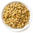 Pine Nuts in White Bowl - Stock Photo