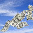 Money Falling from Sky - Stock Photo