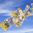 Stock Photo: Money Falling from Sky