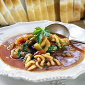 Minestrone with Bread — Stock Photo