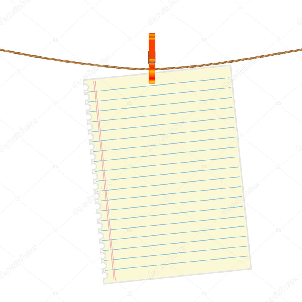 Paper note at the rope with clothes pin — Stock Vector #10444027