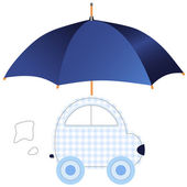 Blue car under umbrella (concept of protection or insurance) — Stock Vector