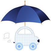 Blue car under umbrella (concept of protection or insurance) — Stock Vector
