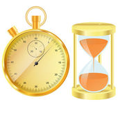 Gold stopwatch and hourglass — Stock Vector