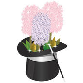 Magical hat with flowers and wand — Stock Vector