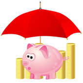 Piggy-bank and money under red umbrella — Stock Vector