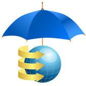 Globe under umbrella concept of defense of information — Stock Vector