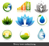 Health and nature icons — 图库矢量图片
