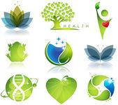 Simboli di benessere ed ecologia — Vettoriale Stock