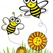 Happy spring flower with bee — Stock Vector