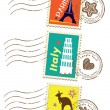 Landmarks stamps set — Stockvectorbeeld