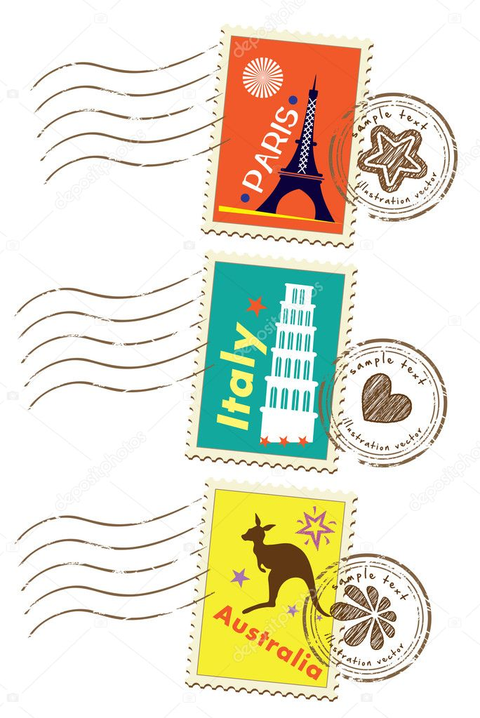 Stock Vector Illustration:Landmarks stamps set — Stock Vector #8989530