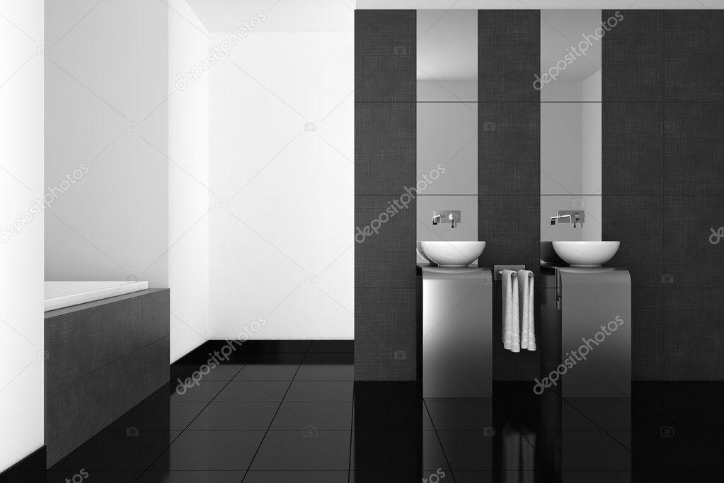 Casa De Banho Moderna Com Dobro Da Bacia E Piso Preto Fotografias De Stock Anhoog 8205017