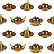 Monkey heads background - Stock Vector