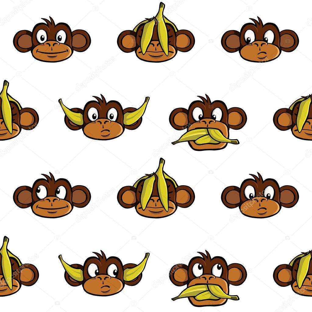 Seamless wallpaper background with various monkey heads. — Stock Vector #8545216