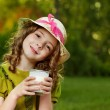 Girl with milk glass — Stock Photo