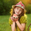 Stock Photo: Beauty girl with melon slice