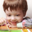 Happy children draw picture — Stock Photo