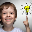 Children idea with draft lamp — Stock Photo