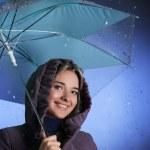 chica feliz bajo la lluvia — Foto de Stock   #10640529