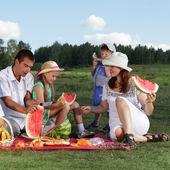 Piknik rodzin na zewnątrz z jedzeniem — Zdjęcie stockowe