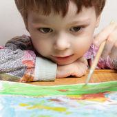 Happy children draw picture — Stock Photo