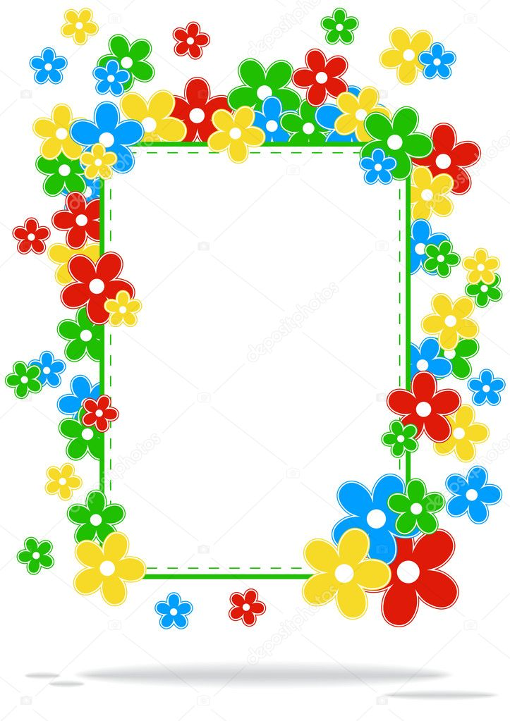 Greeting card with colored flowers and place for text on a white background with shadow — Stock Vector #10037469