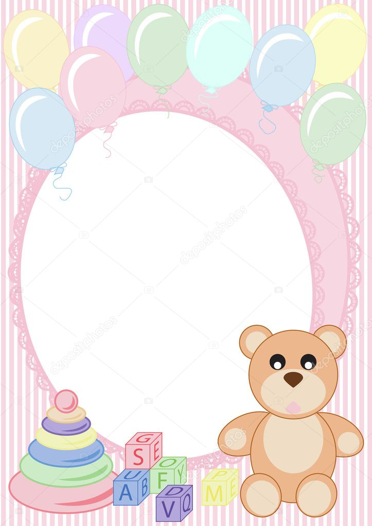 Congratulations on a striped background with a teddy bear and balloons — Stock Vector #8252582