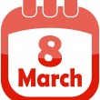 Icon of March 8 in a calendar - Stock Vector