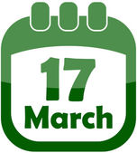 Icon of March 17 in a calendar — Stock Vector