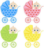 Collection of baby carriages — Stock Vector