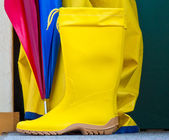 Rubberboots and umbrealla — Stock Photo