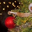 Cowboy Christmas - spur with a red ball ornament — Stockfoto