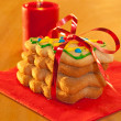 Royalty-Free Stock Photo: Christmas tree shaped cookies in a stack, tied with a red ribbon