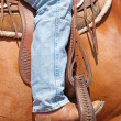 Stock Photo: Rider's foot in stirrup in western saddle