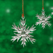 Dreamy image of glass snowflake Christmas ornaments — Stock Photo