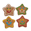 Smiling star shaped Christmas gingerbread cookies - Stock Photo