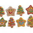Delightful Christmas tree and star shaped gingerbread cookies — Stock Photo