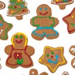 Colorful, glazed gingerbread Christmas cookies - Stock Photo