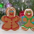 Gingerbreadman and woman — Stock Photo