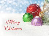 Ornamenti di natale neve con testo buon natale — Foto Stock
