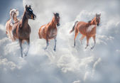 Dreamy image of horses running through storm clouds — Stock Photo