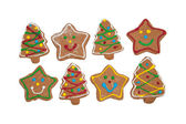 Delightful Christmas tree and star shaped gingerbread cookies — Stockfoto