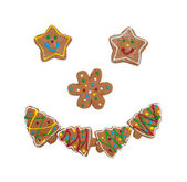 Colorful Christmas cookies forming a smiling face — Stock Photo